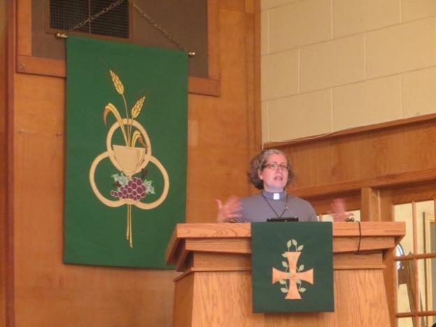 Pastor Tami preaching at St. John Lutheran
