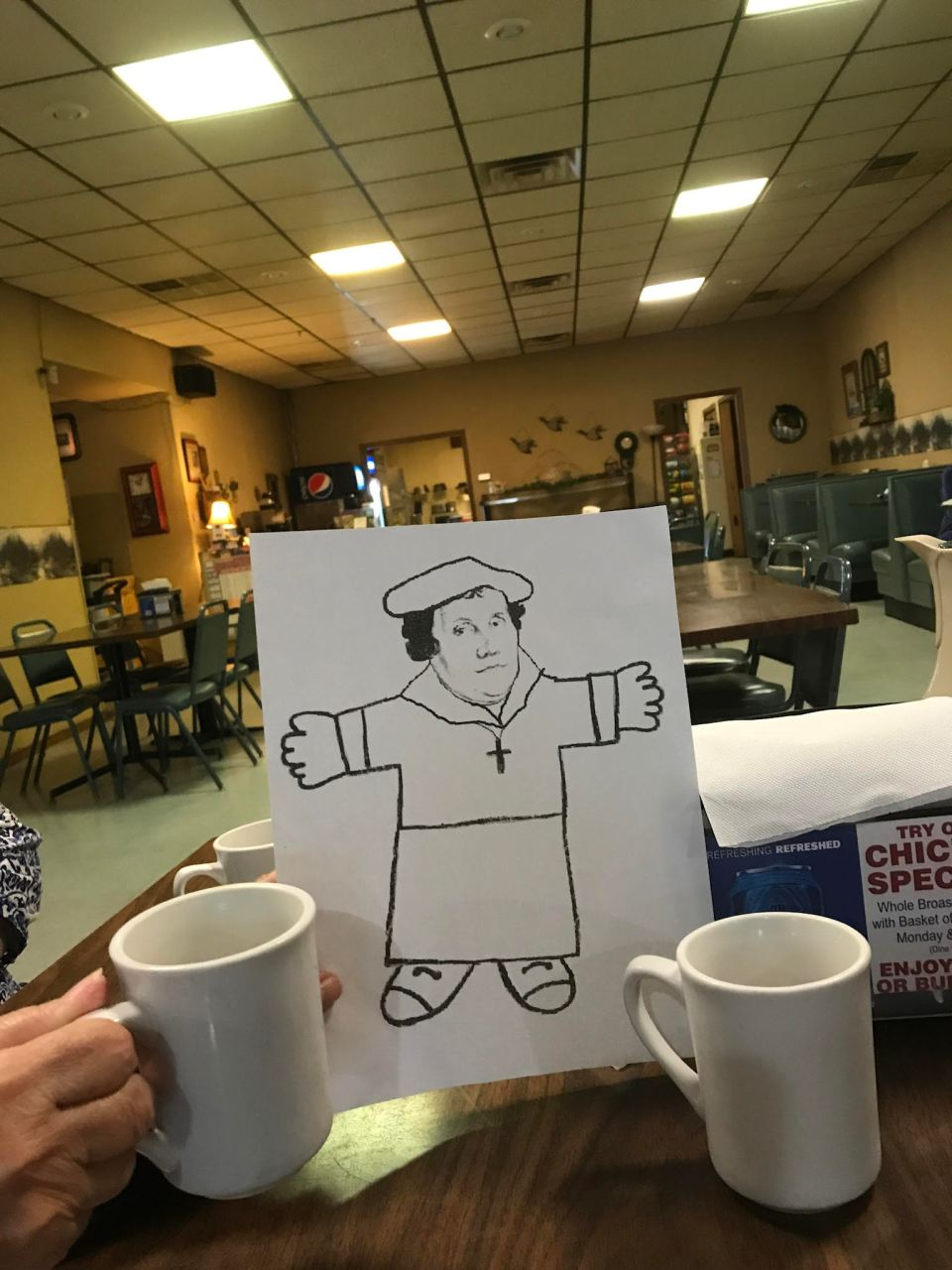 Flat Marty with our coffee cups at coffee time