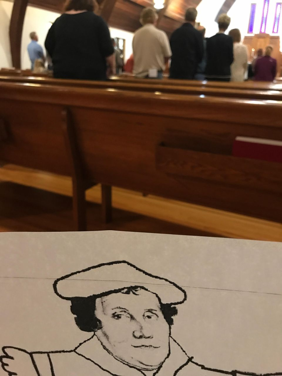 photo of flat marty in church